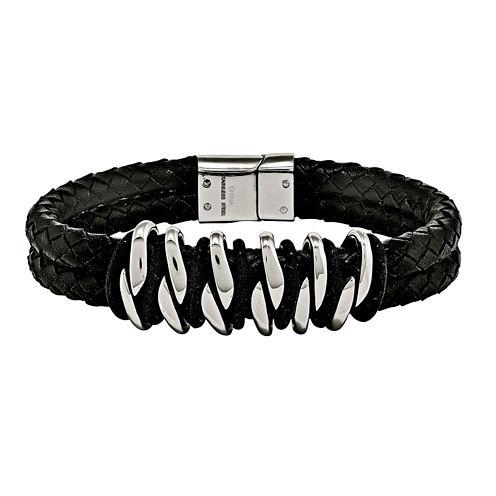 Mens Stainless Steel Black Rubber & Leather Bracelet