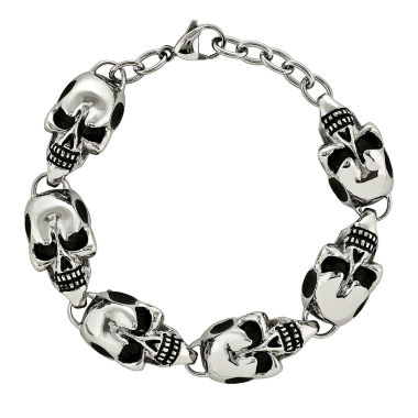 jcpenney.com | Mens Stainless Steel Antiqued Skulls Chain Bracelet