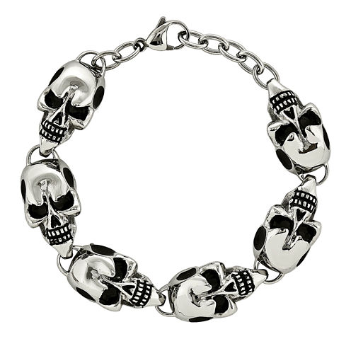 Mens Stainless Steel Antiqued Skulls Chain Bracelet