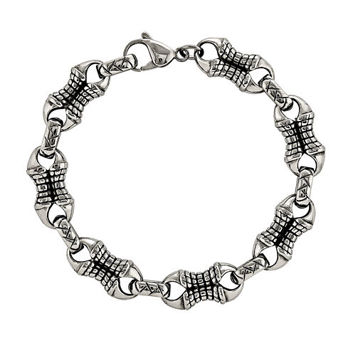 Mens Stainless Steel Patterned Chain Bracelet