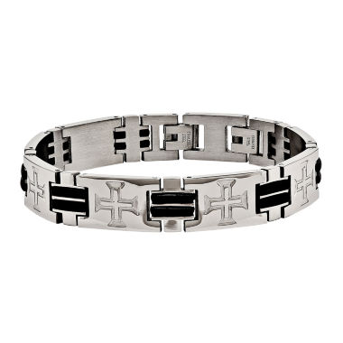 jcpenney.com | Mens Stainless Steel & Black Rubber Cross Adjustable Chain Bracelet