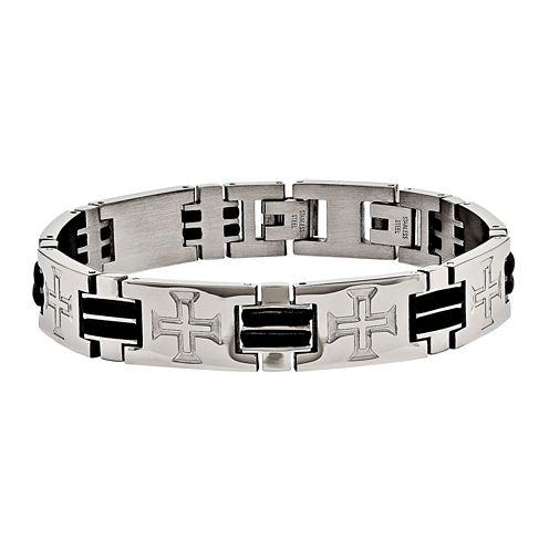 Mens Stainless Steel & Black Rubber Cross Adjustable Chain Bracelet
