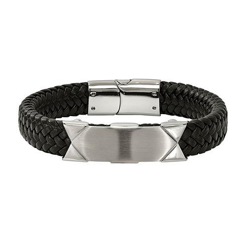 Mens Stainless Steel & Black Leather ID Bracelet