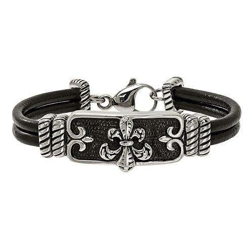 Mens Stainless Steel & Black Leather Antiqued Fleur De Lis Bracelet