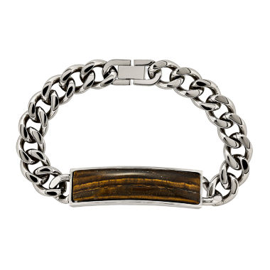 jcpenney.com | Mens Tigers Eye Stainless Steel Chain Bracelet