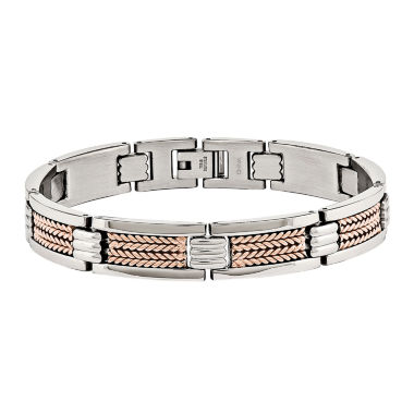 jcpenney.com | Mens Stainless Steel Rose Ip-Plated Chain Bracelet