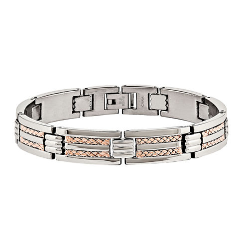 Mens Stainless Steel Rose Ip-Plated Chain Bracelet