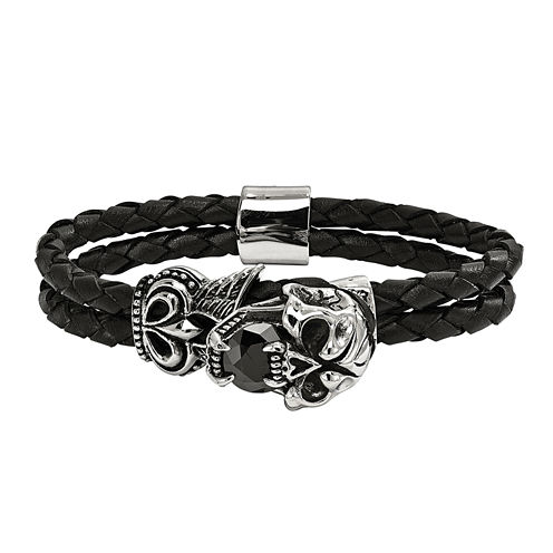 Mens Black Crystal Stainless Steel Wrap Bracelet