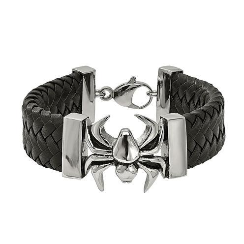 Mens Stainless Steel & Black Leather Spider Bracelet