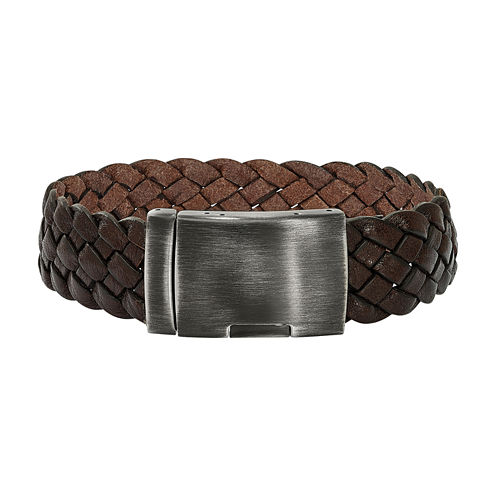 Stainless Steel & Brown Braided Leather Bracelet