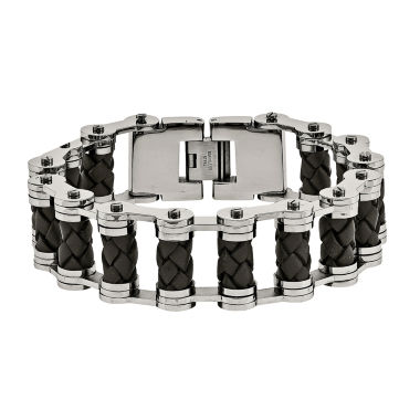 jcpenney.com | Mens Stainless Steel & Brown Leather Chain Bracelet