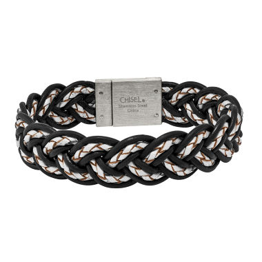 jcpenney.com | Mens Stainless Steel Black & Grey Leather Bracelet