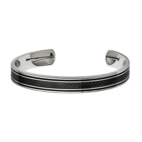 Mens Stainless Steel Black Ip-Plated Cuff Bracelet