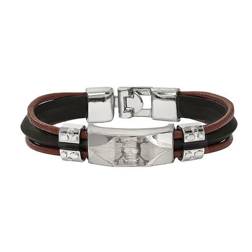 Mens Stainless Steel & Faux Leather Skull Bracelet