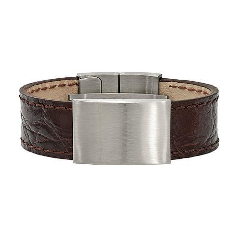 Mens Stainless Steel & Dark Brown Leather Id Bracelet