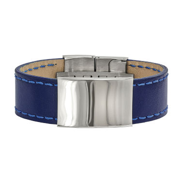 jcpenney.com | Mens Stainless Steel & Blue Leather Id Bracelet
