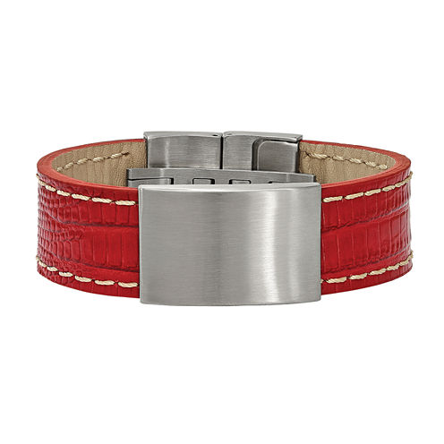 Mens Stainless Steel & Red Leather Id Bracelet
