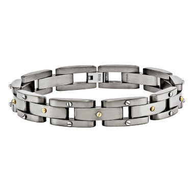 jcpenney.com | Mens Titanium Yellow Ip-Plated Chain Bracelet