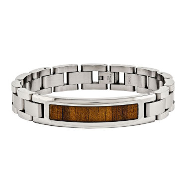 jcpenney.com | Mens Stainless Steel Wood Inlay Chain Bracelet