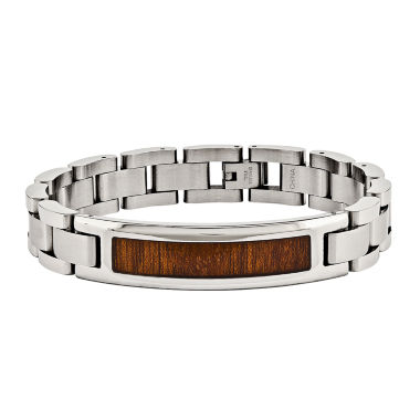 jcpenney.com | Mens Stainless Steel Brown Wood Enameled Chain Bracelet