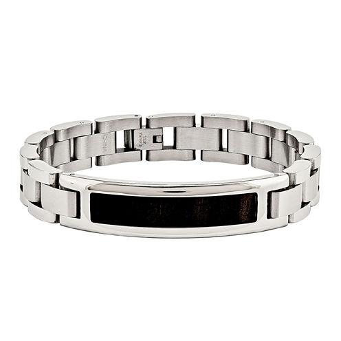 Mens Stainless Steel Black Wood Enameled Chain Bracelet
