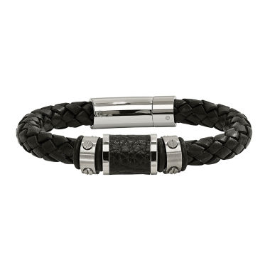 jcpenney.com | Mens Stainless Steel & Black Leather Bracelet