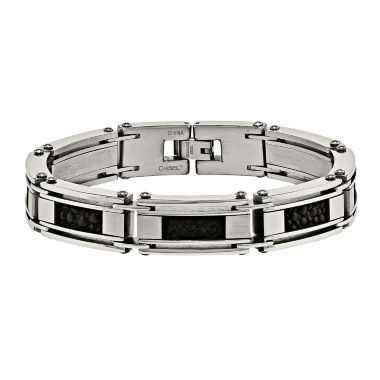 jcpenney.com | Mens Stainless Steel & Leather Stingray Chain Bracelet