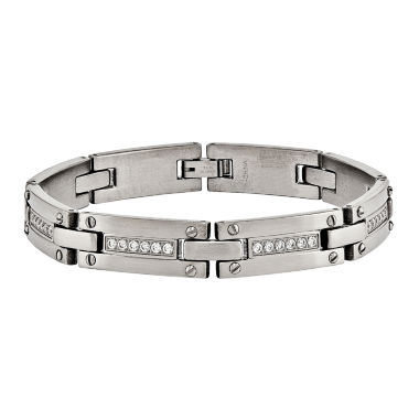 jcpenney.com | Mens 8.5 Inch White Cubic Zirconia Stainless Steel Chain Bracelet