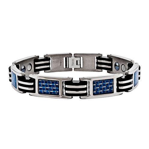 Mens Titanium & Blue Carbon Fiber Chain Bracelet
