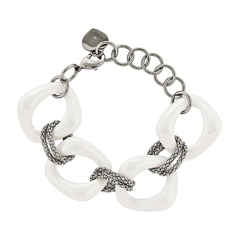 Mens Stainless Steel White Ceramic Chain Bracelet