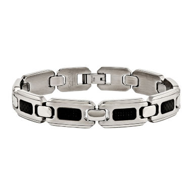 jcpenney.com | Mens Stainless Steel & Black Carbon Fiber Inlay Chain Bracelet