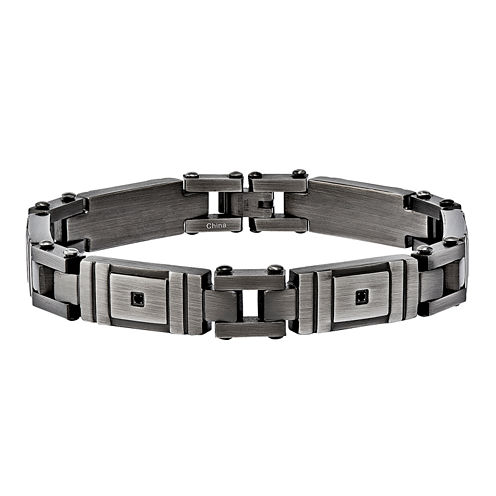 Mens Black Cubic Zirconia Stainless Steel Chain Bracelet
