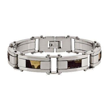 jcpenney.com | Mens Stainless Steel Brown Camo Fabric Inlay Chain Bracelet