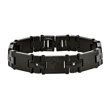jcpenney.com | Mens Cubic Zirconia Stainless Steel Black Ip-Plated Chain Bracelet