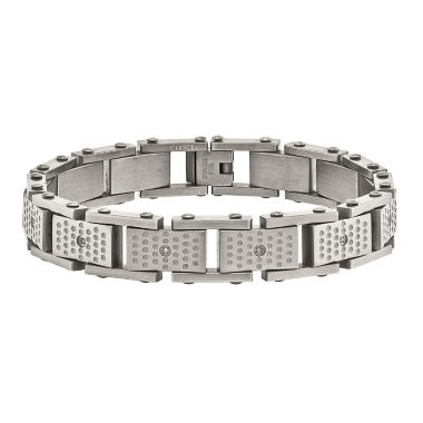 jcpenney.com | Mens Cubic Zirconia Stainless Steel Chain Bracelet