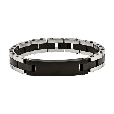 jcpenney.com | Mens Stainless Steel Black Ip-Plated Id Bracelet