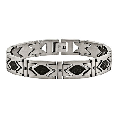 jcpenney.com | Mens Black Cubic Zirconia Stainless Steel  & Leather Chain Bracelet