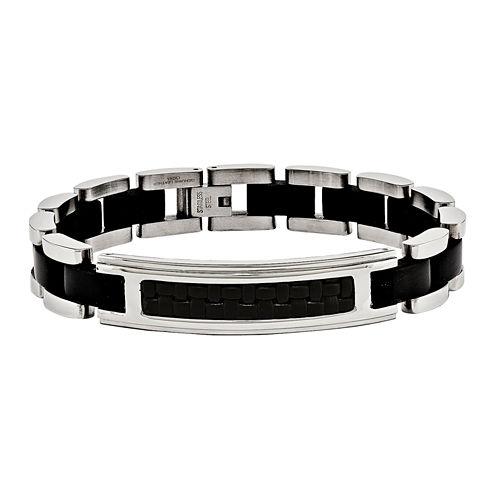 Mens Stainless Steel Black Ip-Plated & Leather Bracelet