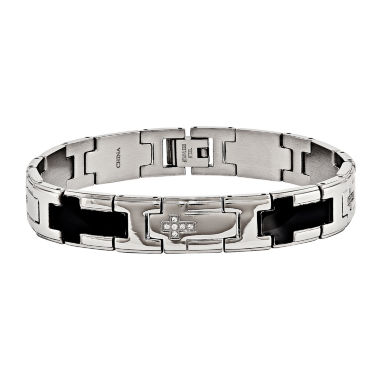 jcpenney.com | Mens Cubic Zirconia Stainless Steel Black Ip-Plated Cross Chain Bracelet