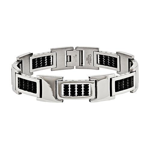 Mens Stainless Steel Black Ip Chain Bracelet