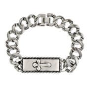 Mens Stainless Steel Cross Chain Bracelet