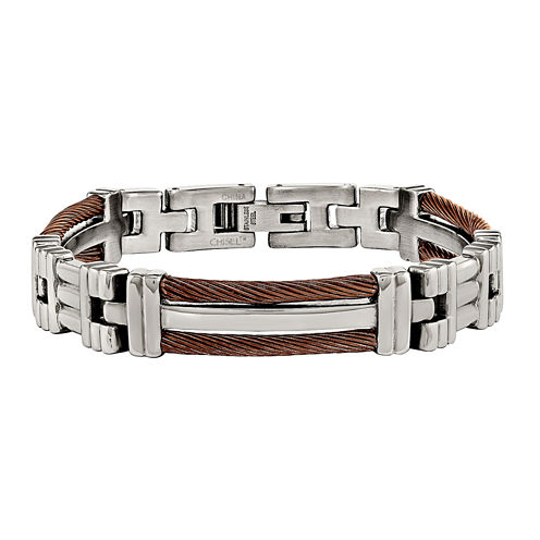 Mens Stainless Steel Brown Ip-Plated  Chain Bracelet