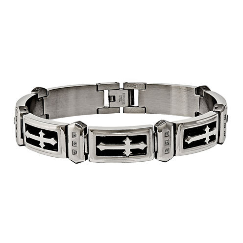 Mens Cubic Zirconia Stainless Steel Chain Bracelet