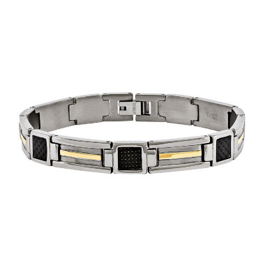 jcpenney.com | Mens Titanium & 14K Yellow Gold Inlay Accent Chain Bracelet