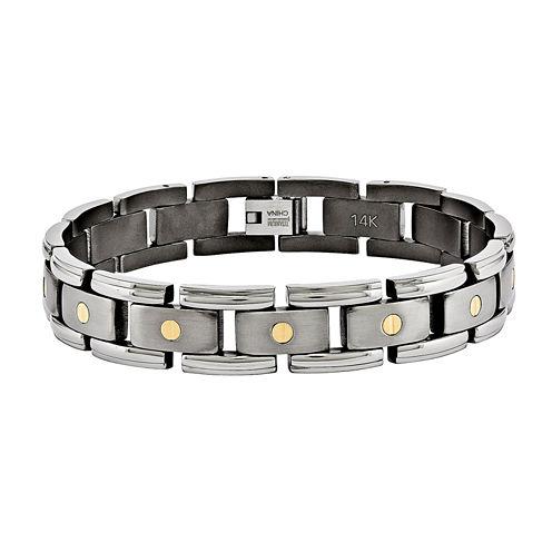 Mens Titanium & 14K Yellow Gold Inlay Accent Chain Bracelet