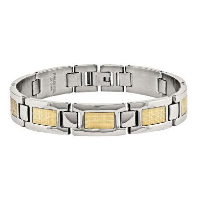 Fine Jewelry Mens 1/7 C.T. TW. Diamond 18K Gold and Stainless Steel Bracelet Mzuv2C