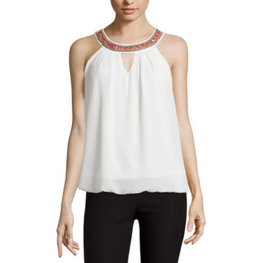 jcpenney.com | by&by Necklace-Trim Bubble-Hem Tank Top