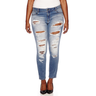 jcpenney.com | Blue Spice Destructed High-Rise Skinny Jeans - Juniors Plus