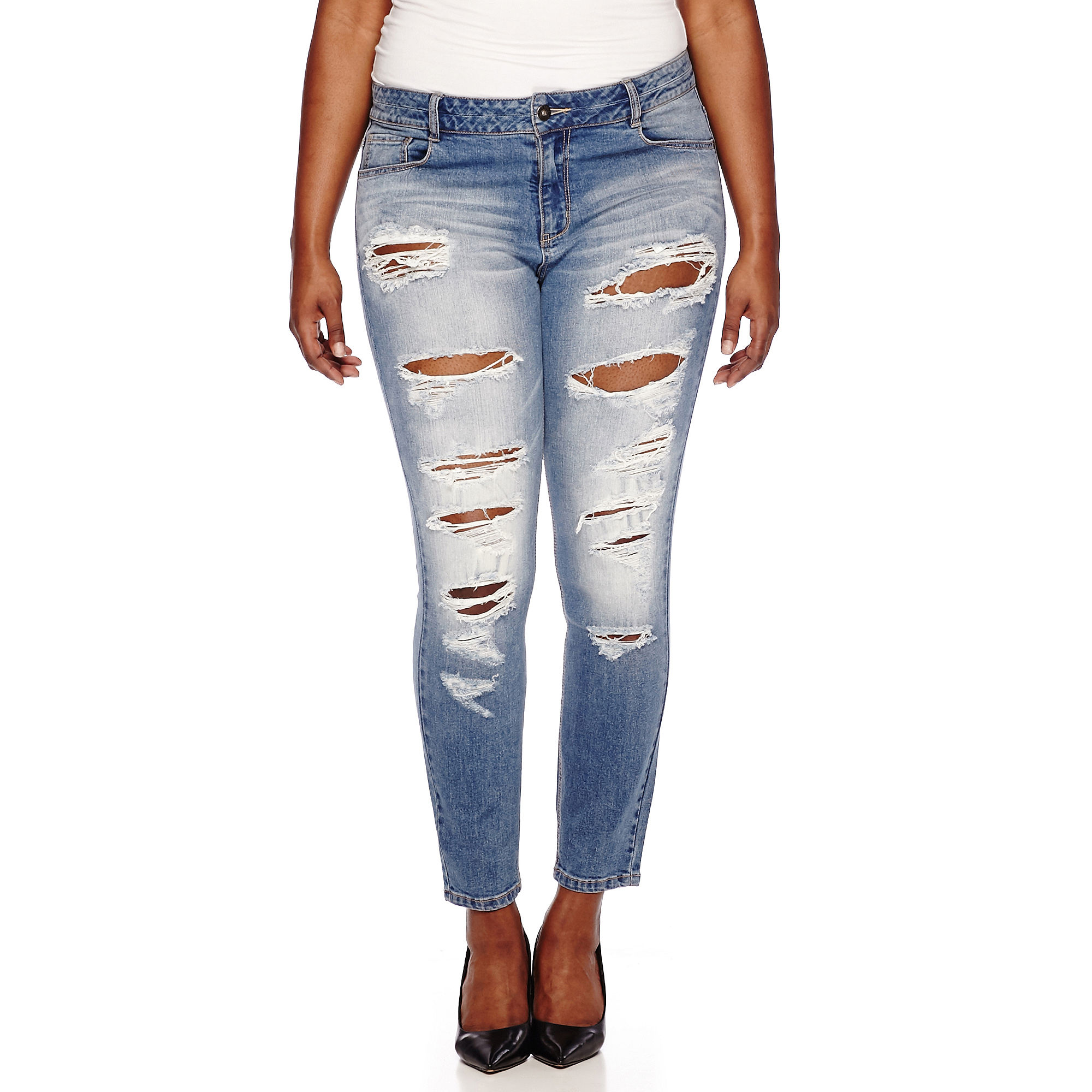Blue Spice Destructed High-Rise Skinny Jeans - Juniors Plus plus size,  plus size fashion plus size appare