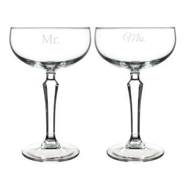 jcpenney.com | Cathy's Concepts Set of 2 Mr. & Mrs. Champagne Coupe Toasting Flutes